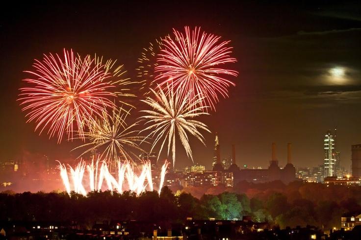 Fireworks near Battersea Power Station, Guy Fawkes Night AKA Bonfire Night, 2012