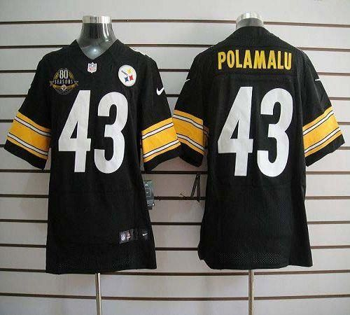 e012d01cc ... elite nfl jerseys venta outlet store 76ccf eb5ad; official store jersey  nike steelers 43 troy polamalu black team color with 80th patch mens  embroidered