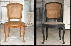 Joli projet pour une chaise cannée récupérée dans la rue à cause de son assise déchirée.