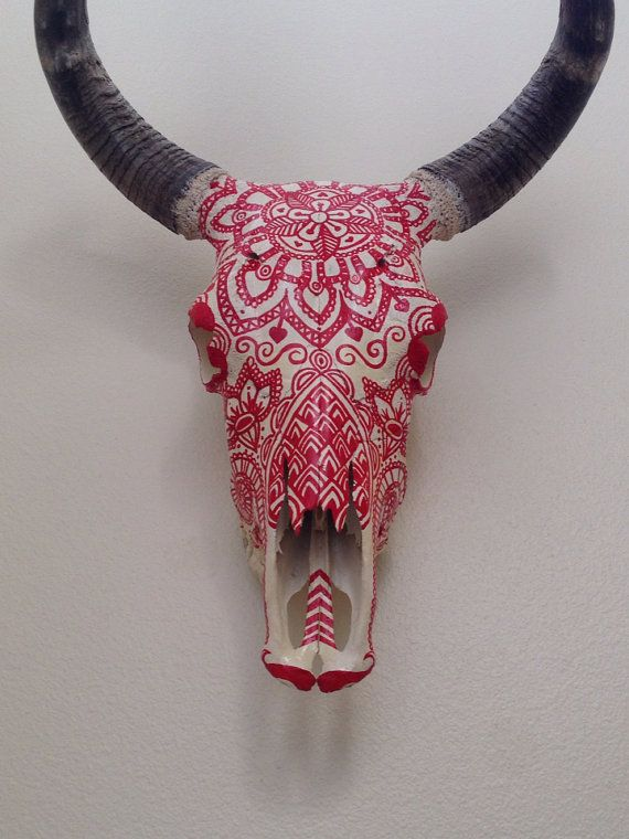 Painted cow head on Etsy, $175.00