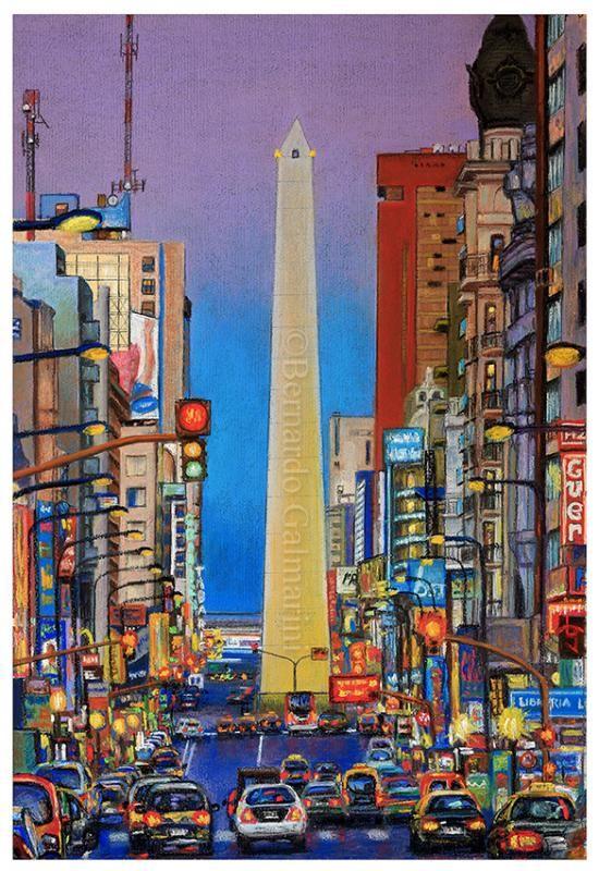 """Galeria Universal """"Obelisco 01"""" Ciudad de acuarela"""