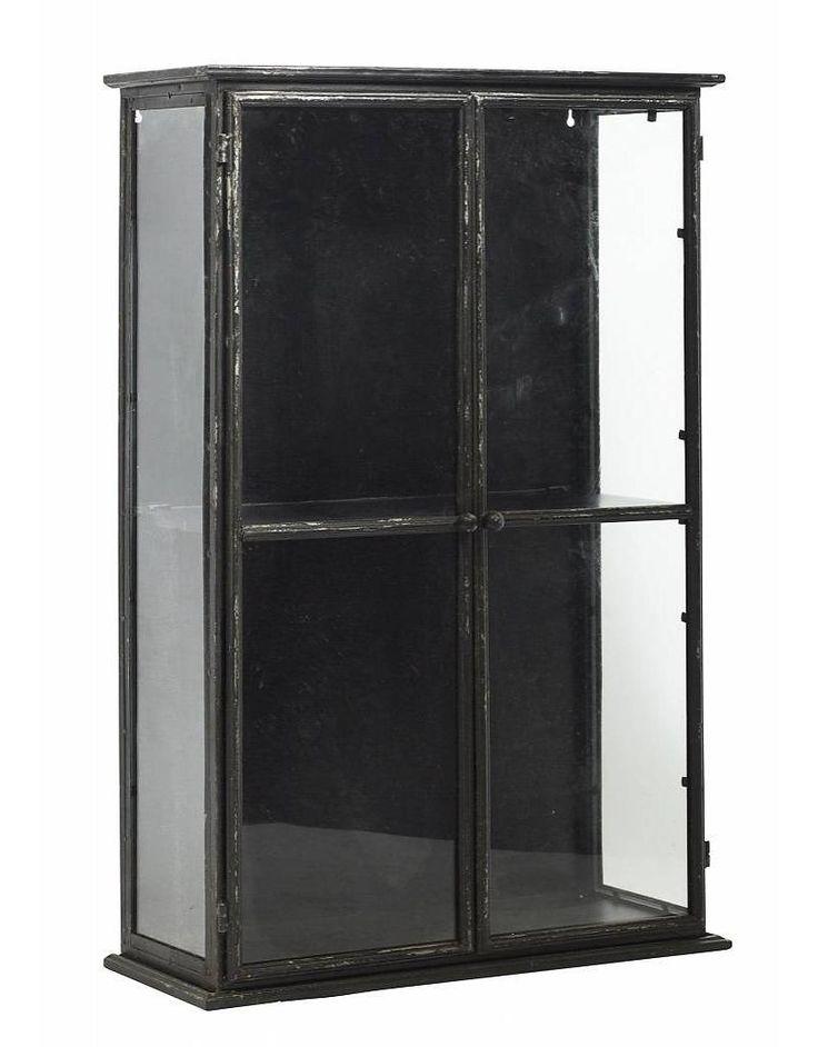 Nordal vitrinekastje, zwart, 80 cm hoog - Stoer Metaal