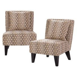 Create a cozy living room with this sumptuous essential, bringing style and flair to your well-appointed home.  Product: Set of 2 chairsConstruction Material: Polyester, solid hardwood, metal springs, plywood, and CA foamColor: Deep brownFeatures:  Retro geometric designMade in the USAIncludes a pillow for each chair Dimensions: 32 H x 25.75 W x 31 D each