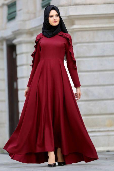 b069759467d39 2018/2019 Yeni Sezon Günlük Elbise Koleksiyonu -Neva Style - Fırfırlı Siyah  Tesettür Elbise