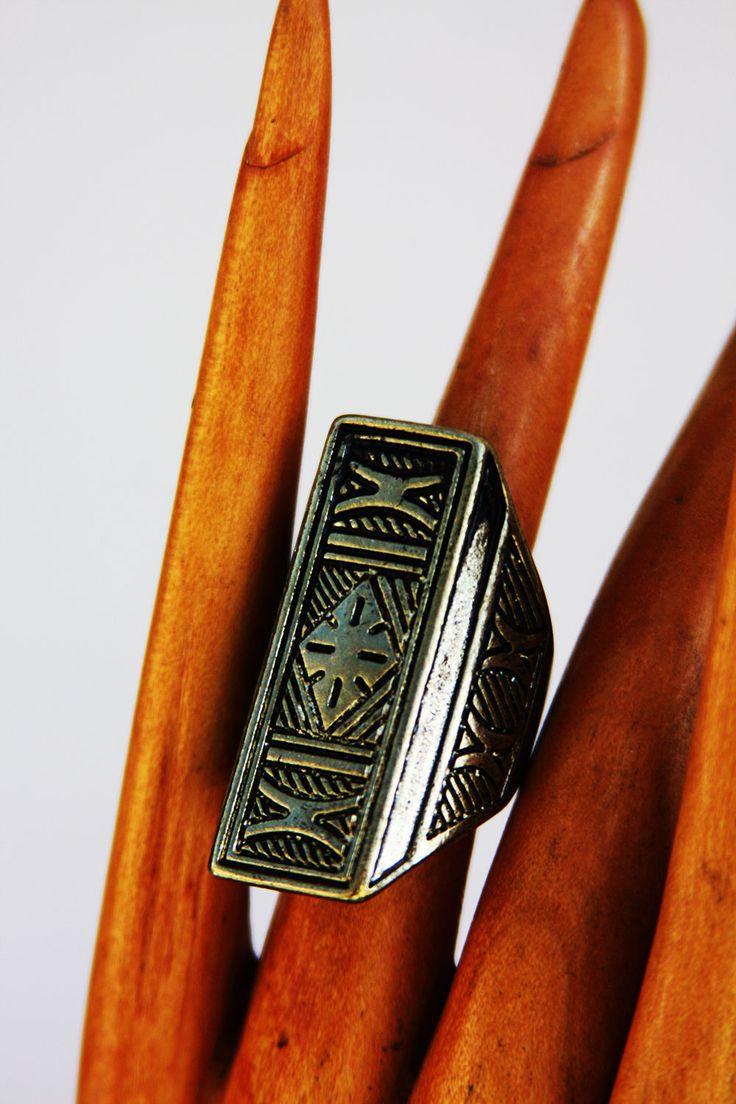 Women's Aztec Style Brass Ring. Size 7.5. Jewellery Jewelry | eBay