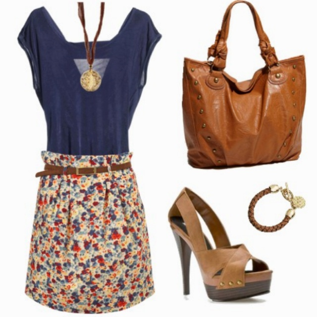 Floral skirt and solid tee always works! :)