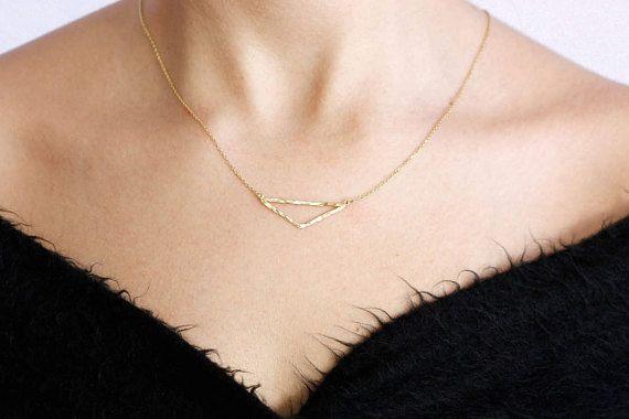 Silver Triangle Necklace, Gold Triangle Necklace, Hammered Necklace, Simple Layered Necklace, Geometric Pendant, Triangle Pendant, SN0035