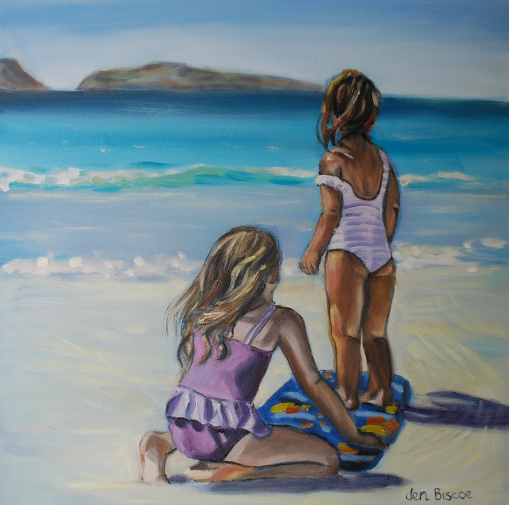 Oil painting of two little girls at the beach.