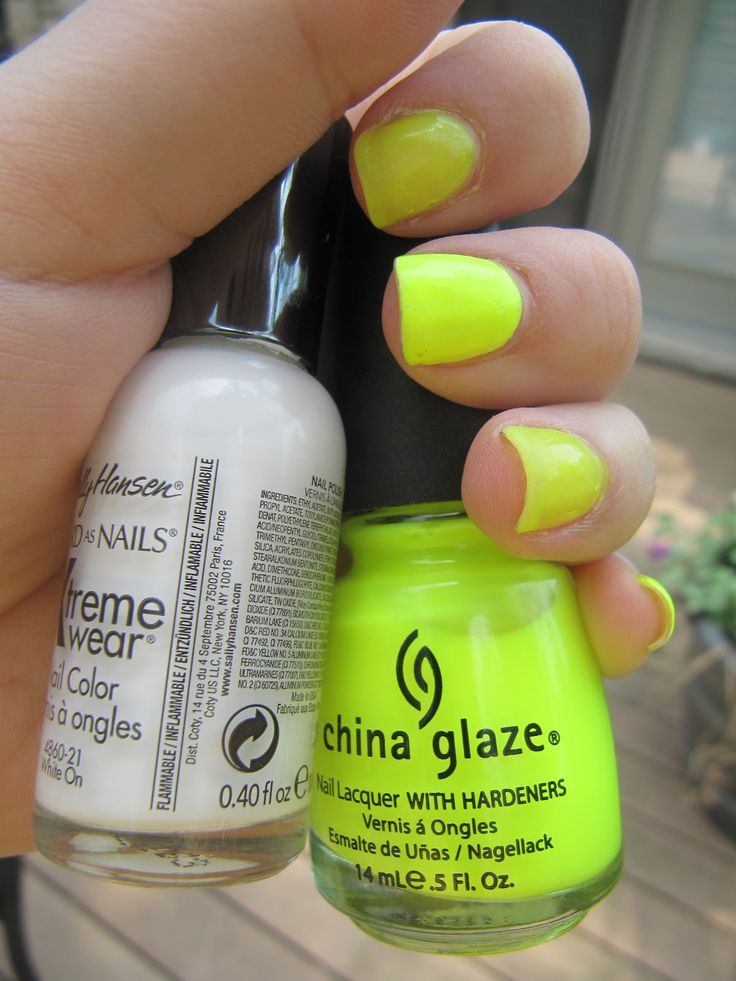 A Trick for Neon Nail Polish.. put a layer of white underneath to help the color pop!