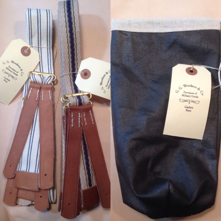 Handmade by G. G. Woodson and Co.  Civil War Period Suspenders and United States Sanitary Service Rations Bags.  Now available by The Badge Maker at www.civilwarcorpsbadges.com