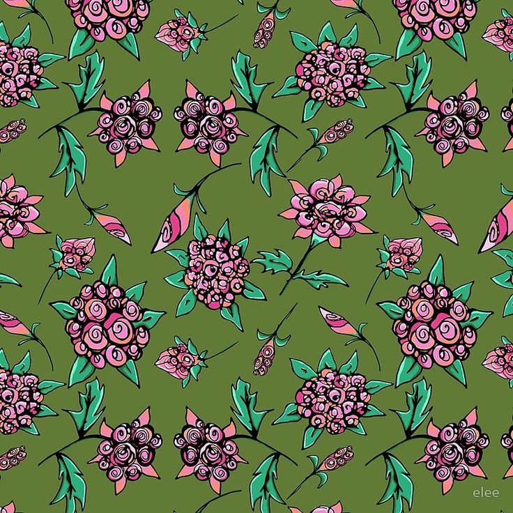 Pinky peach floral on dark green
