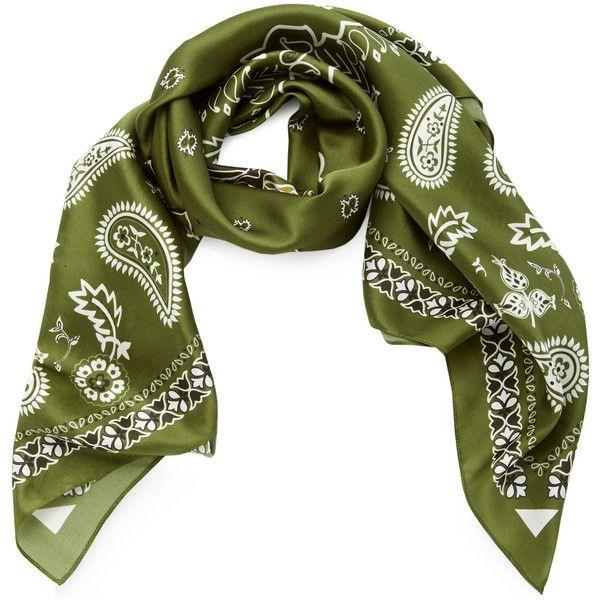 Johanna Ortiz Careyes Silk Bandana (330 CAD) ❤ liked on Polyvore featuring accessories, scarves, silk bandana, silk scarves, silk shawl, silk handkerchief and pure silk scarves