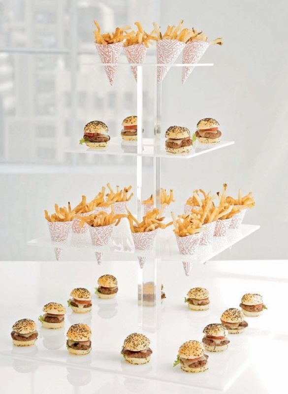 Mini Food Ideas-n American classic; hamburgers and hotdogs, only in miniature form! That's right, you don't have to feel guilty for theses small pleasures. Finish them off with a mini side of fries. Consider a cone cup or even a mini glass with ketchup dip.