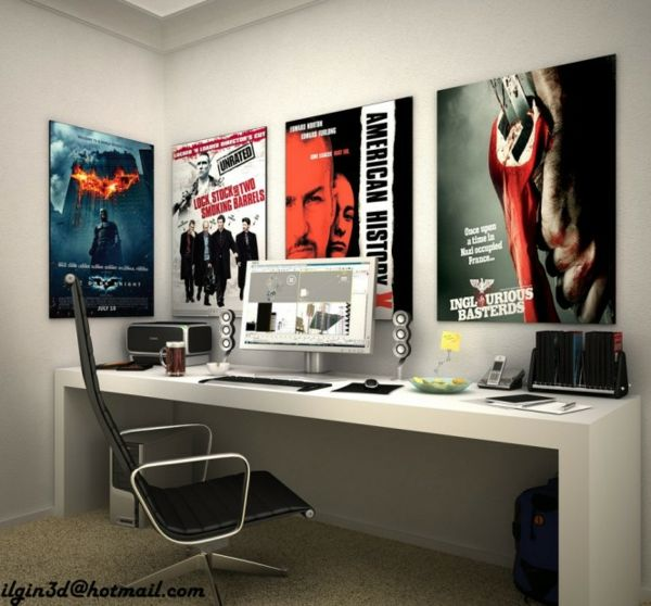 coin de travail dans chambre ado avec affiches