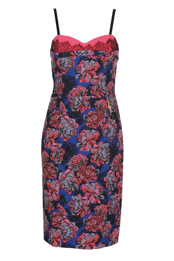 #RobertoCavalli #Cavalli #ClassbyRobertoCavalli #Prefall  #Sleeveless #floralprint #pink #purple #cocktail dress
