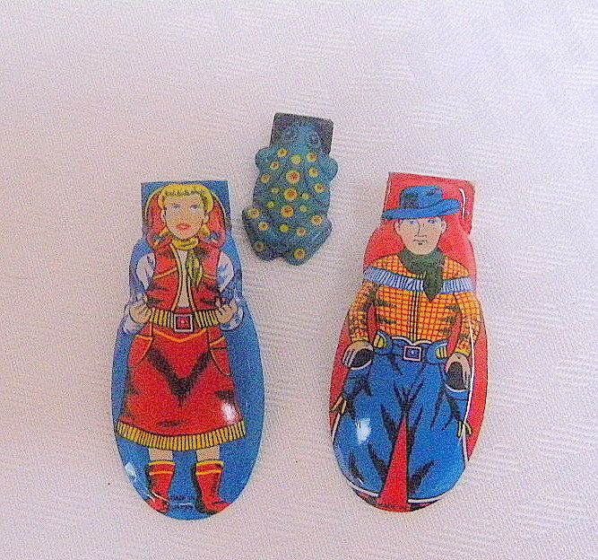Tin Japanese clickers lot of 3 vintage toys cowboy cowgirl frog midcentury toy noisemakers by TreasuresFromTexas on Etsy