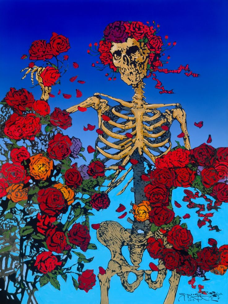 skeleton and roses painting MouseStudios Mouse in 2019