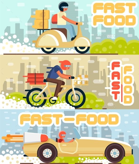#Fast #Food and Pizza Delivery Flyers in Flat Style - #Man-made Objects Objects