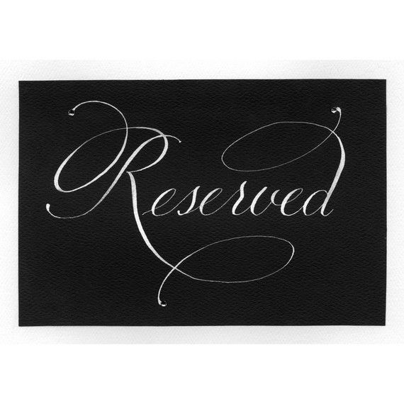 Reserved Seating Card by svcalligraphy on Etsy, $6.00