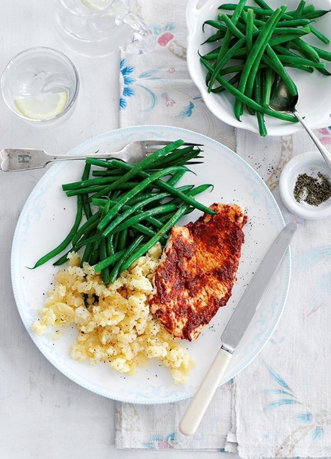 Photograph of the healthy Italian style turkey steaks with crushed potatoes recipe