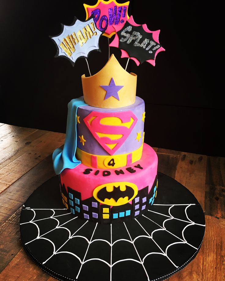Super hero cake for girls!                                                                                                                                                                                 More