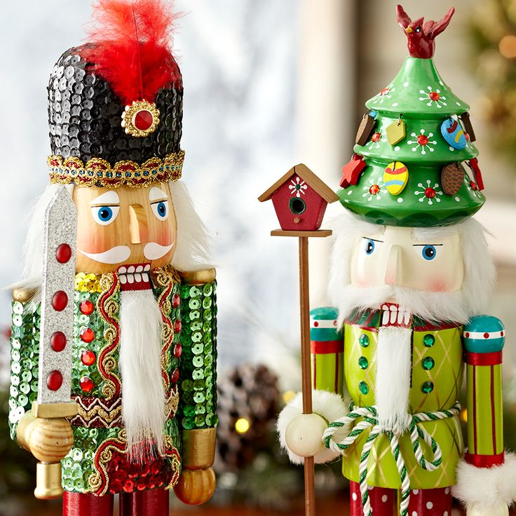 Hand-painted details on Christmas nutcrackers