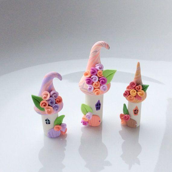 Miniature fairy houses, fairy house set, polymer clay houses, terrarium fairy set, miniature village: