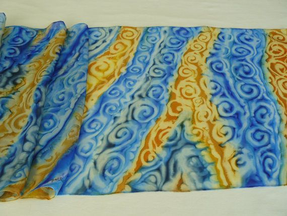 Hand painted silk scarf. Royal Blue and old gold antique by Irisit