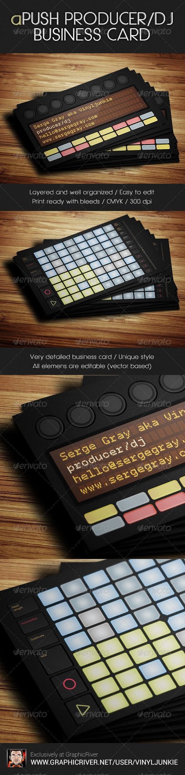 22 best creative business cards images on pinterest creative 2 side business card template for ableton push producers and djs reheart Choice Image