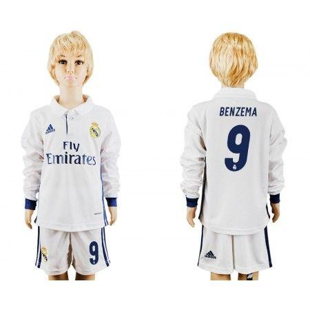 Real Madrid Fotbollskläder Barn 16-17 Karim #Benzema 9 Hemmatröja Långärmad,275,98KR,shirtshopservice@gmail.com