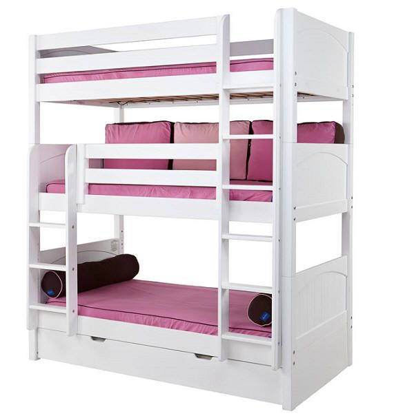 Stella Twin Size Triple Bunk Beds With Trundle.... Are you telling me I could sleep all four kids in the space of a twin size bed? This is tempting...