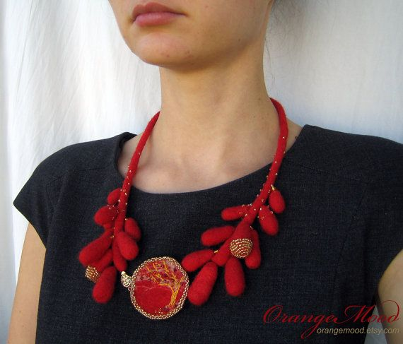 red felted necklace