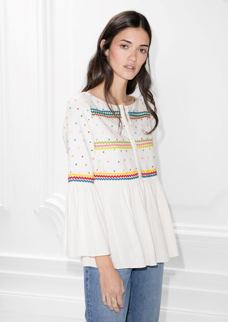 & Other Stories image 2 of Linen-Blend Rik Rak & Embroidered Blouse in White