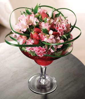 flower arrange in wine glass    Novelty Flower Arrangements, Happy Hour Flowers, Cocktail Flower ...