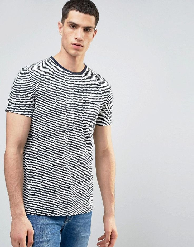Solid T-Shirt In Stripe Texture With Pocket - White