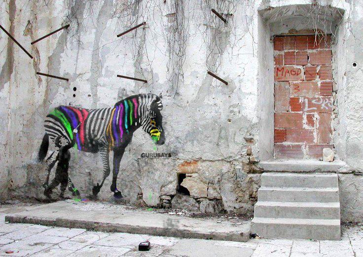 Street art by Elvio Maccheroni: Paintings Art, Art Paintings, Elvio Maccheroni, Street Art Utopia, Color, Graffiti, Public Art, Zebras, Streetart