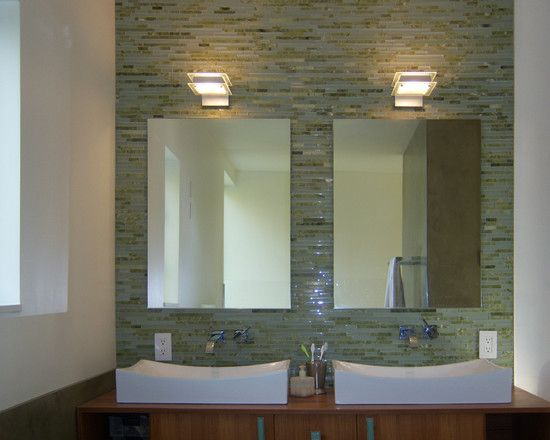 Crane Residence   Contemporary   Bathroom   Seattle   Spore Design (like  Idea Of Glass Tiles On One Wall Of Bathroom)