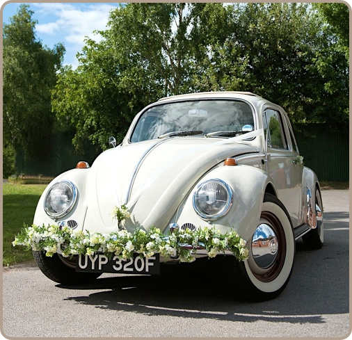 Polly Pootles | classic Volkswagen VW Beetle chauffeur driven car hire for wedding or civil partnership | exclusive to Kent and areas of the South East | vintage wedding transport | groom and best man car hire
