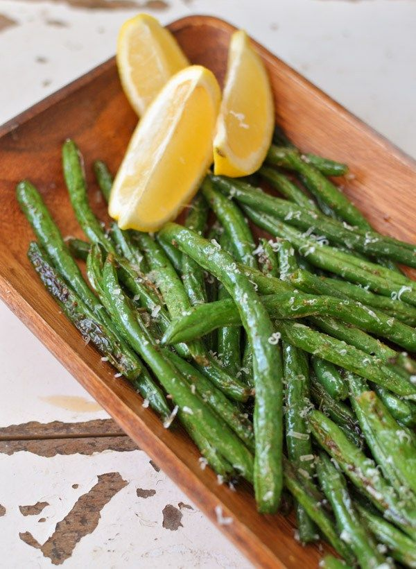 Roasted Lemon Garlic Green Beans (veganize this)