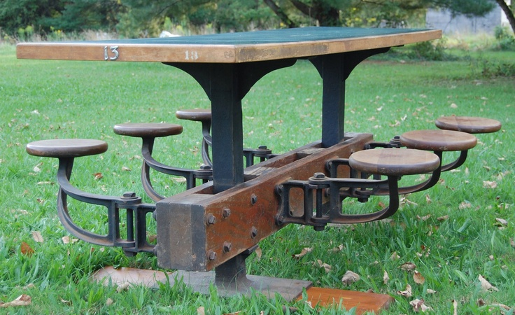 Industrial Cast Iron Base Factory Table With 6 Swing Out