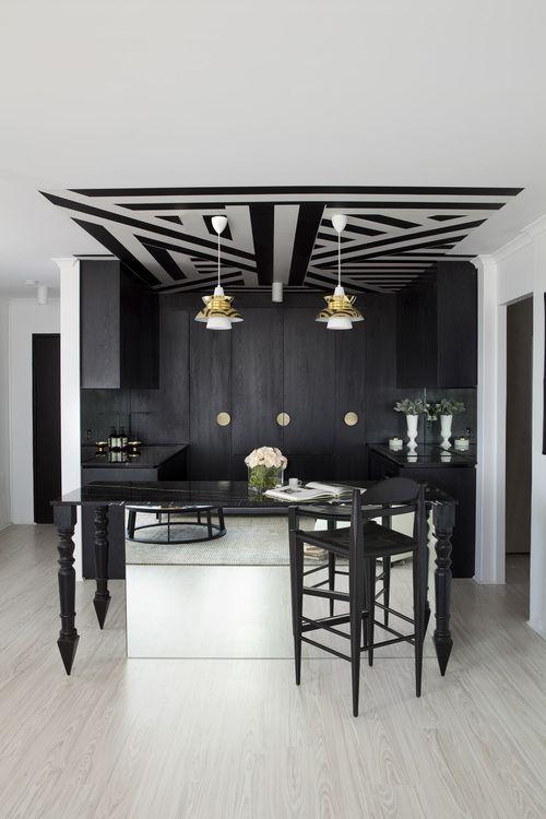 Black & white kitchen - design by James Dawson Interior Design