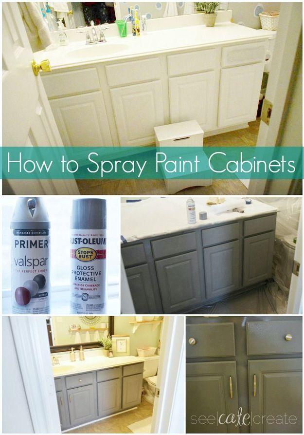 Comment Vaporiser Armoires de peinture | Bricolage Salle de bain makeover Projets DIY Prêt à http://diyready.com/incredible-diy-bathroom-makeover/
