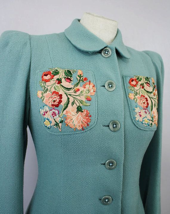 Found on etsy.com Vintage Princess Coat / 1930s Mint Green Embroidered Wool Full Length Coat