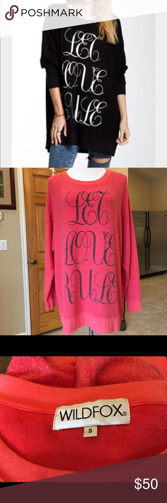 🚩SALE🚩WILDFOX LET LOVE RULE ROAD TRIP SWEATER Worn not more than 5x. In very good condition. Cover photo shows how it looks when worn. Actual item for sale is the red one. Wildfox Tops