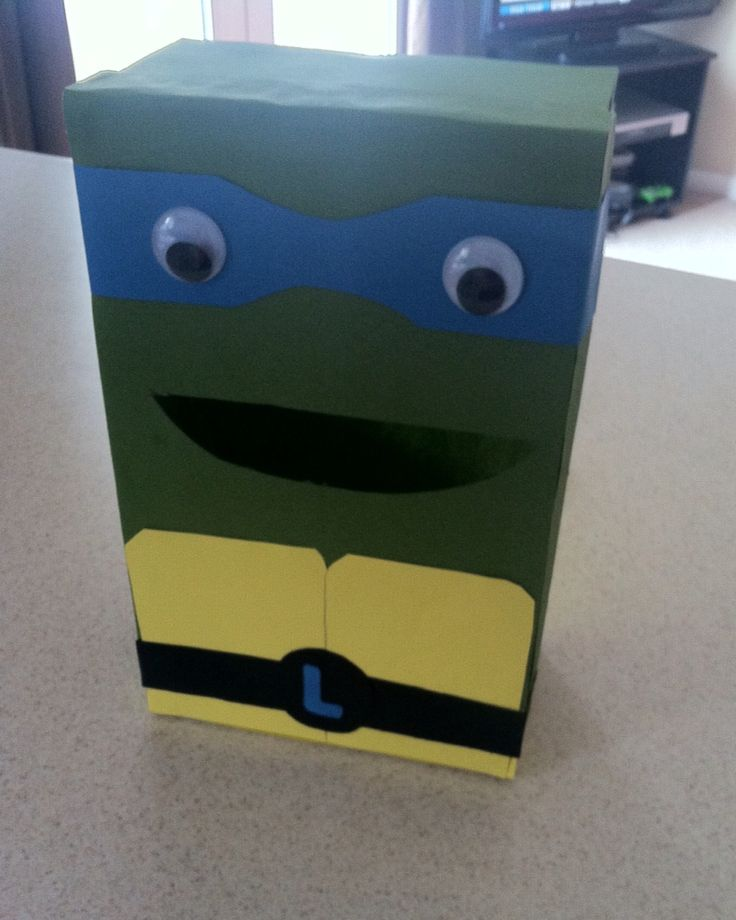 Ninja turtle valentines day box for cards diy valentines box diy valentines craft teenage mutant ninja turtles