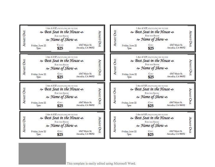Event Ticket Template - Ecordura - free ticket template printable