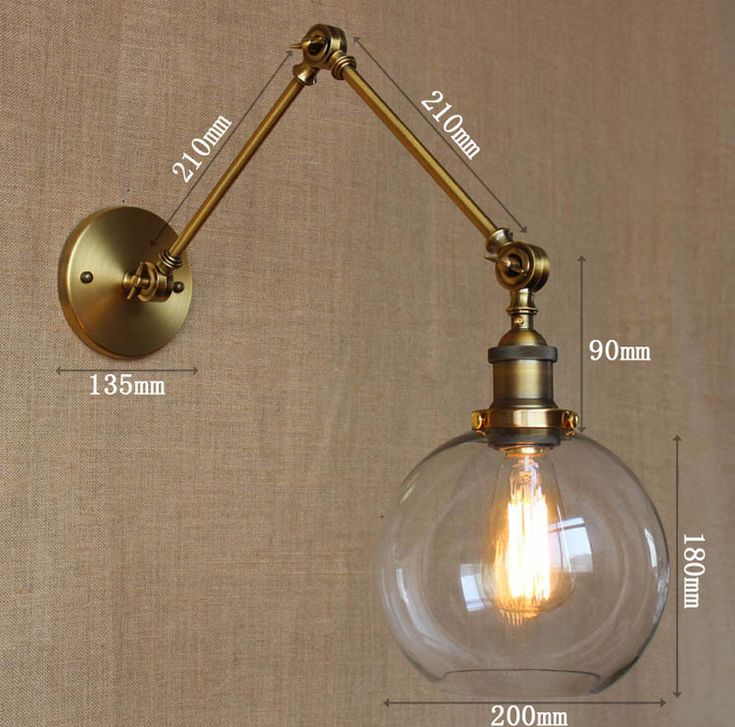 Retro Two Swing Arm Wall Lamp Glass Shade Wall Sconces,Wall Mount Swing Arm Lamps With Edison Bulbs-in Wall Lamps from Lights & Lighting on Aliexpress.com   Alibaba Group