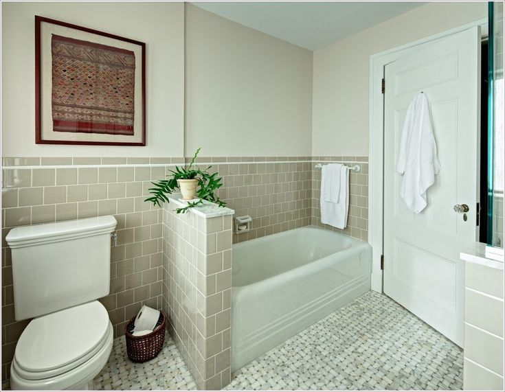 2perfection Decor Basement Coastal Bathroom Reveal: Alcove Bathtub Bathroom Traditional New York 4x4 Tile