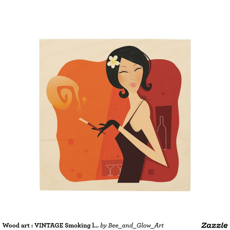 Wood art : VINTAGE Smoking lady