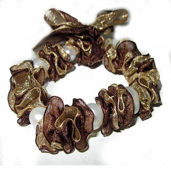 pulsera organza y perlas  organza,perla cultivada 10mm pasada